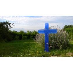 Croix fusing verre bleu